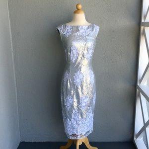 🆕 MARINA Silver Sequin Dress Size 6. NWOT